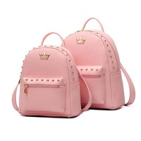 Fashion School Bags Hot Preppy Women Backpack Rivet Crown Student Backpack PU leather Lady Bags Solid Color Travel Backpack Pink