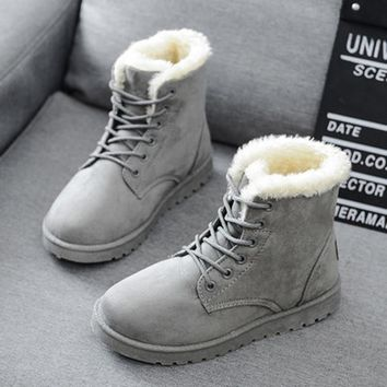 Women Boots 2016 Winter New Warm Snow Boots Flat Heel Ankle Boots Fashion Women Shoes botas mujer Black Red Gray