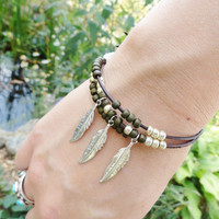Olive Green Leather Wrap Bracelet Adjustable with Feather Charms, Bohemian Jewelry Feathers and Leather