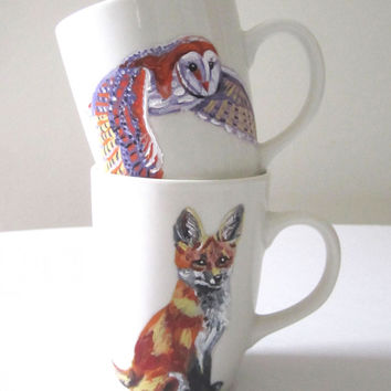 Handpainted Coffee Mugs - Teacups - Fox & Owl - Woodland Animal - Home Kitchen Decor - Modern Tea Ware - Original Wildlife Painting