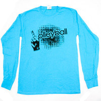 Volleyball Sign Long Sleeve - Turquoise - Lucky Dog Volleyball