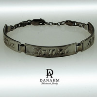 Egyptian Name Bracelet, Black Silver Plated, Silver, Personalized Name in English & Arabic Engraved Letters, 3 Name, Slim, BR012D