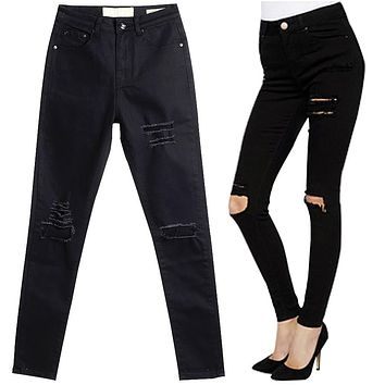 2016 New Arrival Skinny Women Jeans High Waist Pencil Pants Slim Ripped Black Jeans Trousers