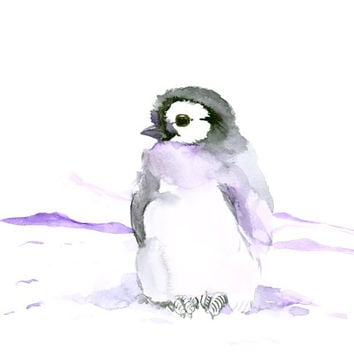 Cute babe Penguin original watercolor painting 12 X 9 in nursery wall art