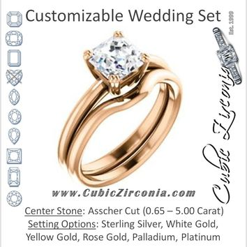 CZ Wedding Set, featuring The Venusia engagement ring (Customizable Asscher Cut Solitaire with Thin Band)