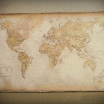 NEW! Beautiful modern world map, English text, Antique style canvas, Pull down map, Large office wall decor, Urban industrial rustic style