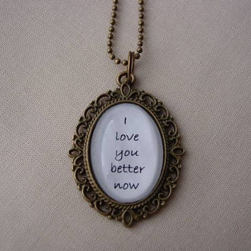 Your Favorite Ed Sheeran Musical Quote Filigree Oval Necklace