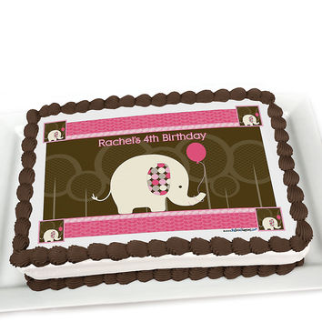 Girl Elephant - Personalized Birthday Party Cake Toppers