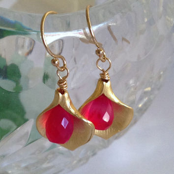 Happy Hot Pink Cala Lily Gold Charm Earrings
