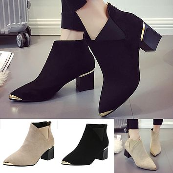 Boots High Heels Women Ankle Boots Sexy Pointed Toe Martin Boots