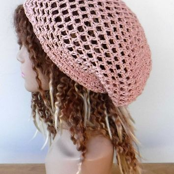 Slouchy beanie 16 colors available/cotton snood slouchy hat/smaller women Dread Tam Hair net beach hat/made to order summer beanie hat