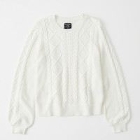 Womens Cable Knit Puff Sleeve Sweater | Womens New Arrivals | Abercrombie.com