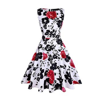 Vintage Inspired Floral Cocktail Dress - Red White Floral, Sizes Small - 2XLarge