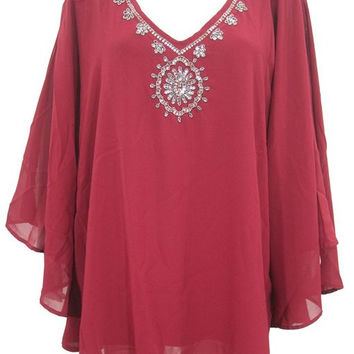 Short Kaftan Dress Red Beach Coverup Beaded Embroidered Poncho Caftan Top