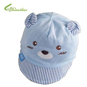 LMF78W Newborn Baby Baseball Hat Spring Summer Outdoor Bucket Hat Infant Cute Cartoon Bear Cap Beach Cap Baby Girls Boys Sun Hats 0-4M