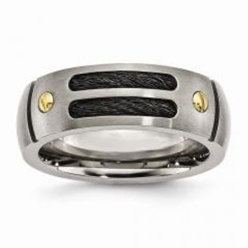 Men's Grooved Black & Yellow Wedding Band