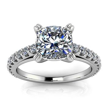Diamond Engagement Ring Setting Cushion Cut Moissanite Center - Esther