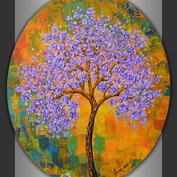 Lavender abstract tree painting, blue green yellow abstract landscape, oval canvas wall art, contemporary decor