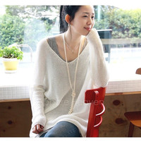 New Sexy V-neck Oversized Batwing Slouchy Knitted Top Jumper Loose Sweater Pullover AP = 1946482244