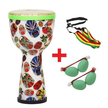 8 inch Multi-color African Hand Drum Tambourine with Sand Egg + Shoulder Cross Strap