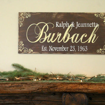 Personalized Name Sign Custom Name Sign Family Name Sign Wedding Gift Anniversary Gift Distressed Wood Rustic Shabby Chic Handpainted Sign