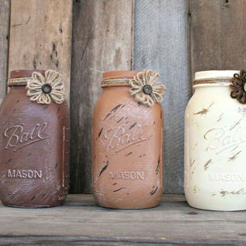 Home and Wedding Decor - Distressed Mason Jar, Vase or Organization - Bark Brown, Coffee Latte, and Antique White