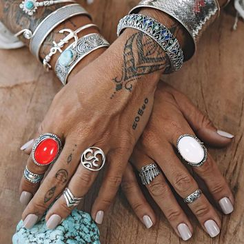 Meyfflin 7pcs Vintage White Red Opal Knuckle Rings for Women Fashion Midi Finger Ring Set Female Jewelry Punk Party Bague Femme