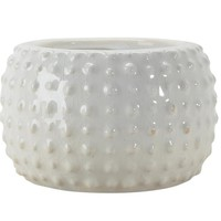 Ceramic Antique-Style Hobnail Textured Planter, White -SageBrook Home