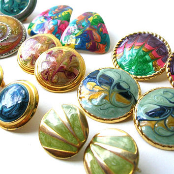 80s Earring Lot, Enamel Earring Destash, Craft Earrings, Pierced Earring, Clip on Earrings, 80s Earrings