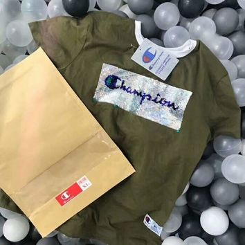 Champion New style shining sequins letter print women and men  short sleeves top t-shirt Army green