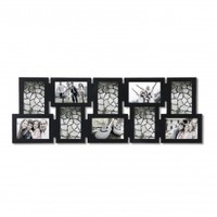 Adeco Decorative Black Wood Interlocking Wall Hanging Collage Picture Photo Frame, 10 Openings, 4x6""