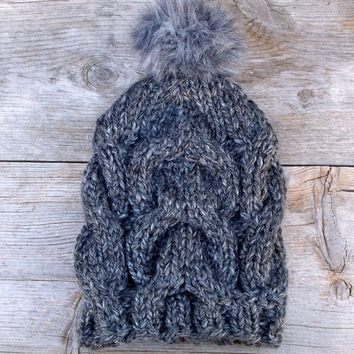 Charcoal Grey Slouchy, Chunky Beanie Hat with Dark Grey Faux Fur Pom Pom, Women's Hat, Winter Hat, Cable Knit Hat with Pom Pom, Pom Pom Hat