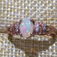 Natural Opal Ring 925 Sterling Silver