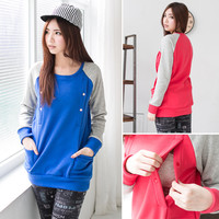 MamaLove Long Sleeve Maternity Hoodies Maternity Tops Breastfeeding Sweater Nursing Coats pregnancy clothes for pregnant women