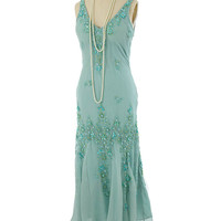 Beaded Sage Chiffon Bias Cut Handkerchief Hem Dress