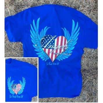 Country Life Outfitters Angel Blue USA Heart American Flag Wings Vintage Girlie Bright T Shirt
