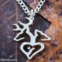 Buck and Doe with son necklace, Deer Family, hand cut coin