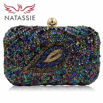 NATASSIE New Design Ladies Evening Bag Women  Sequined Beaded Wedding Party Floral High Quality Clutch With Chain