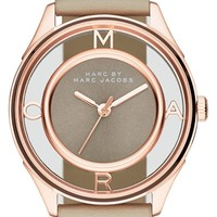 Women's MARC BY MARC JACOBS 'Tether' Skeleton Leather Strap Watch, 36mm - Papyrus Grey/ Rose Gold