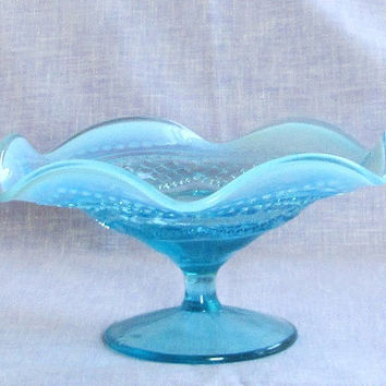 Northwood Blue Opalescent Glass Compote/Beaded Drapes Opalescent Compote