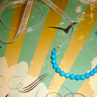 Turquoise Semi Beaded Simple Long Ribbon Necklace for Women. Gifts under 15 for Women