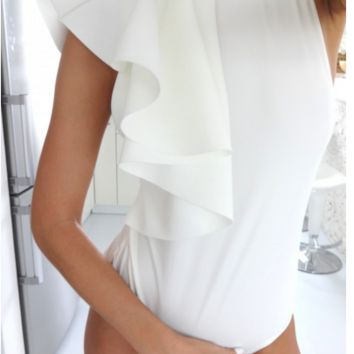 Folding lotus leaf edge piece one piece romper
