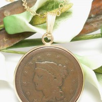 1847 Large Cent Penny Braided Hair Pendant Gold Filled Necklace