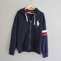 Ralph Lauren Sweatshirt Zip up Hoodie Navy Blue Zip Hooded Polo Sweatshirt With Pockets Vintage 90s Size XL
