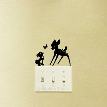 Bambi Light Switch Decal - Thumper Silhouette Velvet Wall Sticker - Deer and Rabbit Kids Room Wall Art - Disney Wall Decor - Laptop Decals