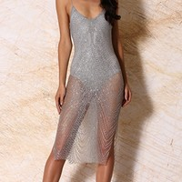 Miracles Happen Silver Glitter Shiny Sheer Metallic Spaghetti Strap Plunge V Neck Backless Bodycon Midi Dress