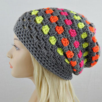 Neon and Grey Slouchy Beanie, Crochet Slouchy Hat, Slouchy Winter Hat, Grey Crochet Beanie, Grey Crochet Hat, Granny Stitch Beanie