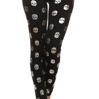 Skull Fleece Lined Leggings