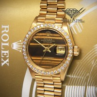 Rolex Datejust 26 President 18k Gold Diamond Tiger Eye Ladies Watch 6517