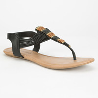 City Classified Womens Beaded T-Strap Sandals Black  In Sizes